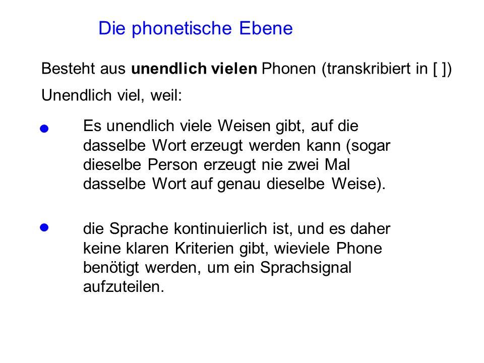 Die phonetische Ebene Besteht aus unendlich vielen Phonen (transkribiert in [ ]) Unendlich viel, weil: